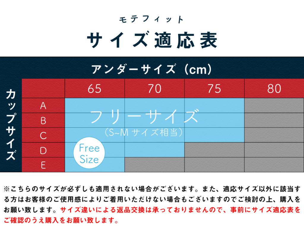 モテフィットサイズ表