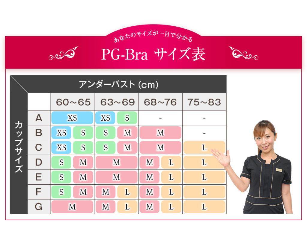 ピージーブラサイズ表